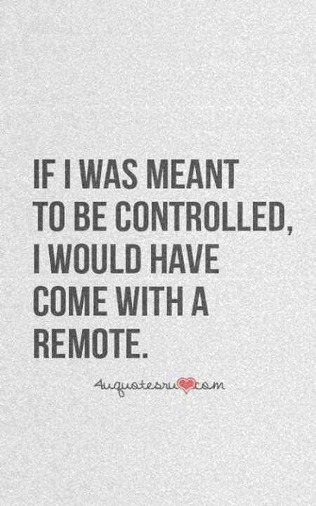 If I was meant to be controlled, I would have come with a remote.