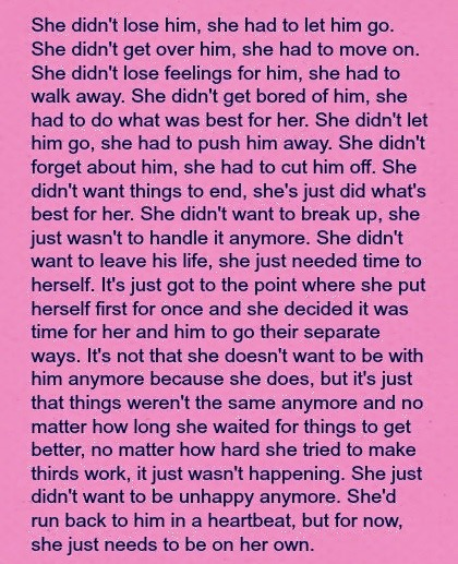 She had to let him go! Love, broken heart, heartbroken, hurts, quote