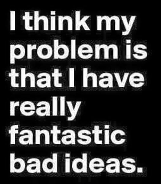I think my problem is that I have really fantastic bad ideas.