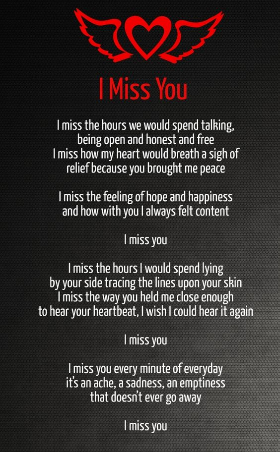 I miss you! I miss talking, peace, happiness, broken heart, love hurts
