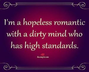I'm a hopeless romantic with a dirty mind who has high standards