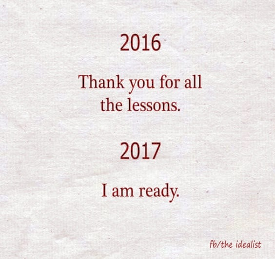 Thanks for the lessons, 2017 I am ready