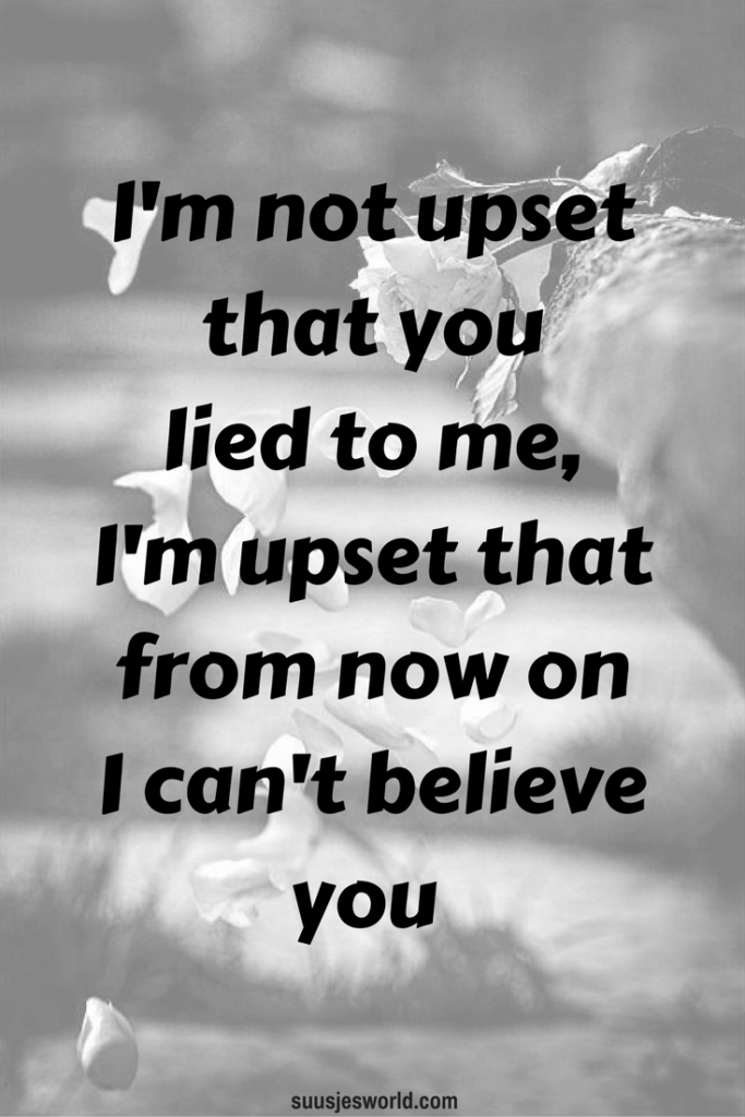 I'm not upset that you lied to me, I'm upset that from now on I can't believe you