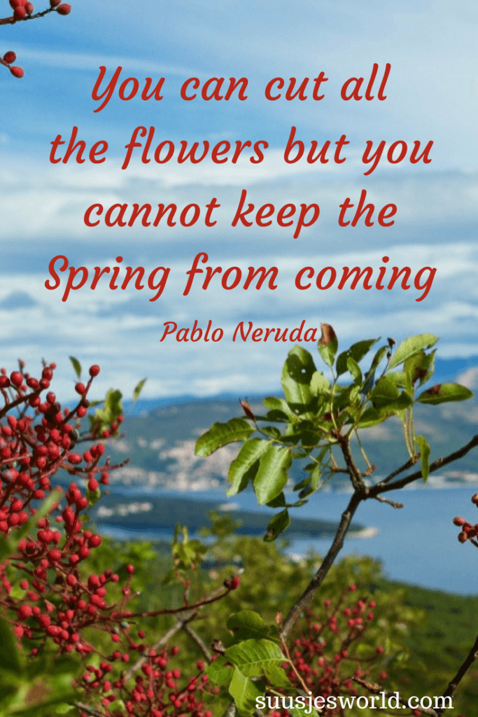 You can cut all the flowers but you cannot keep the Spring from coming Pablo Neruda